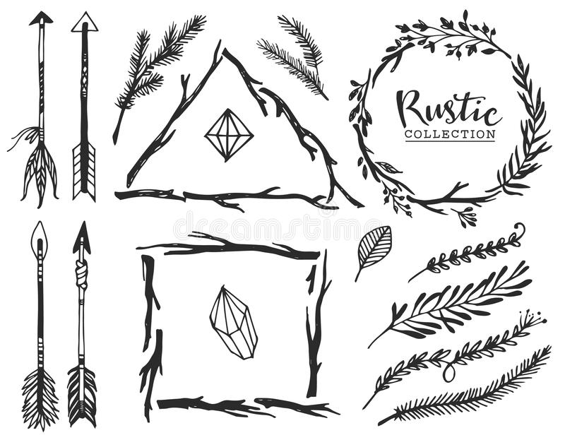 Rustic decorative elements with arrow and lettering. stock illustration
