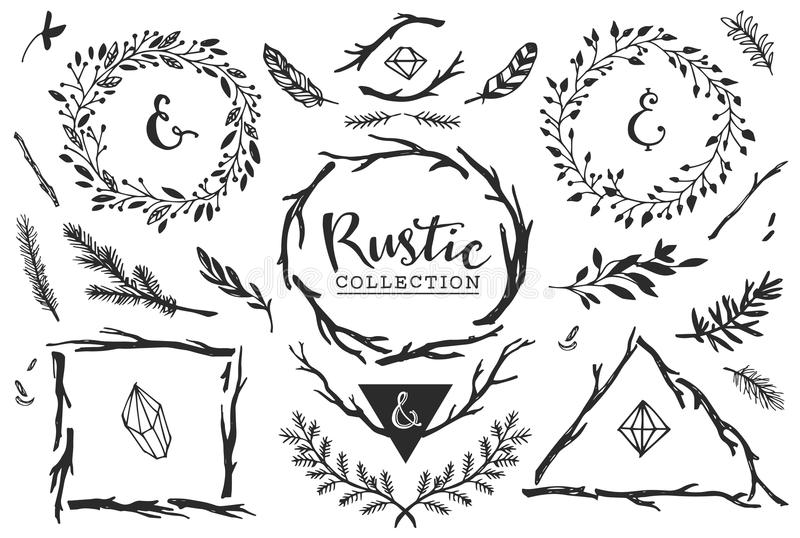 Rustic decorative elements with lettering. Hand drawn vintage. stock illustration