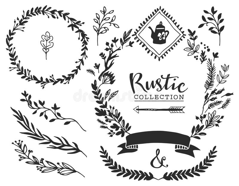 Rustic decorative elements with lettering. Hand drawn vintage stock illustration
