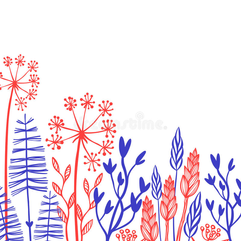 Rustic decorative plants and flowers collection. Hand drawn vintage vector design elements. vector illustration