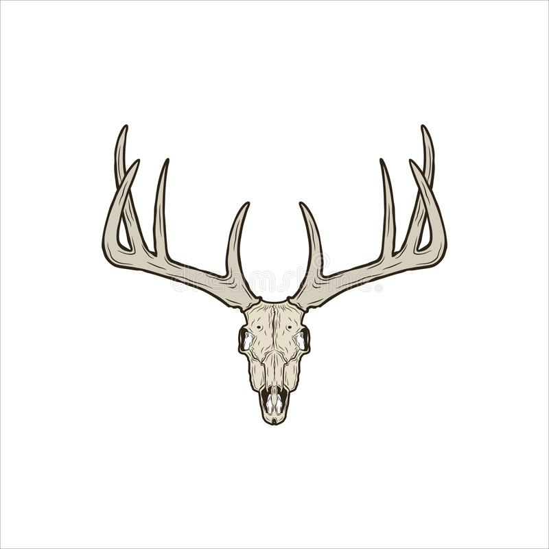 Rustic deer skull. For logo and art royalty free illustration