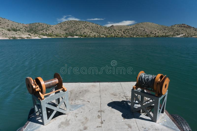 The rustic dock view at Bill Evans lake, New Mexico. royalty free stock photos