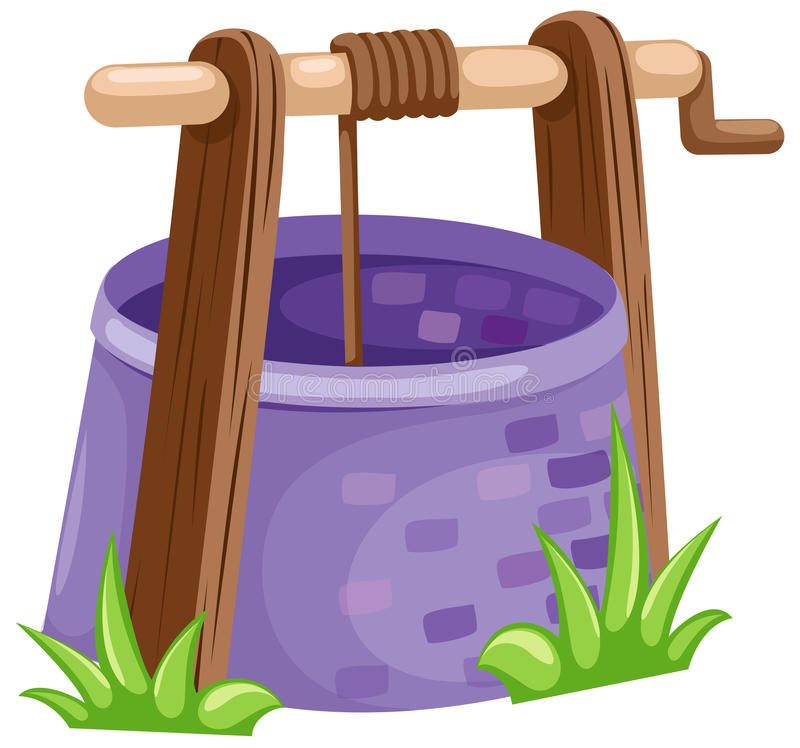 Rustic draw-well stock illustration