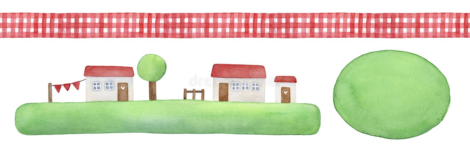 Rustic element set with decorative seamless gingham ribbon, cute little houses on green grass and round watercolor shape to place vector illustration