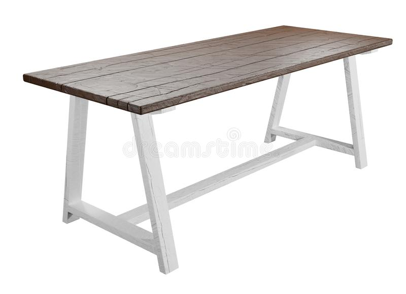 Rustic, empty table isolated on white background with clipping path included. 3D render. stock illustration