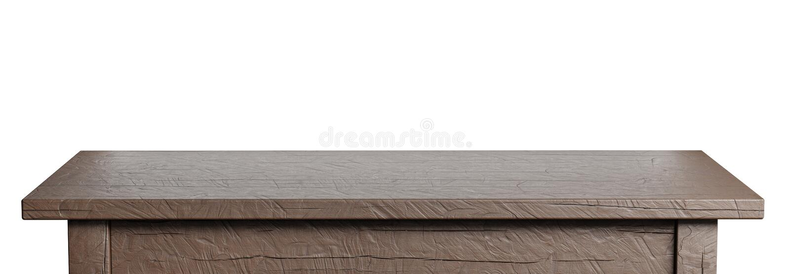 Rustic, empty table isolated on white. Clipping path included. Suitable for product display. 3D render image. Rustic, empty table isolated on white background stock illustration