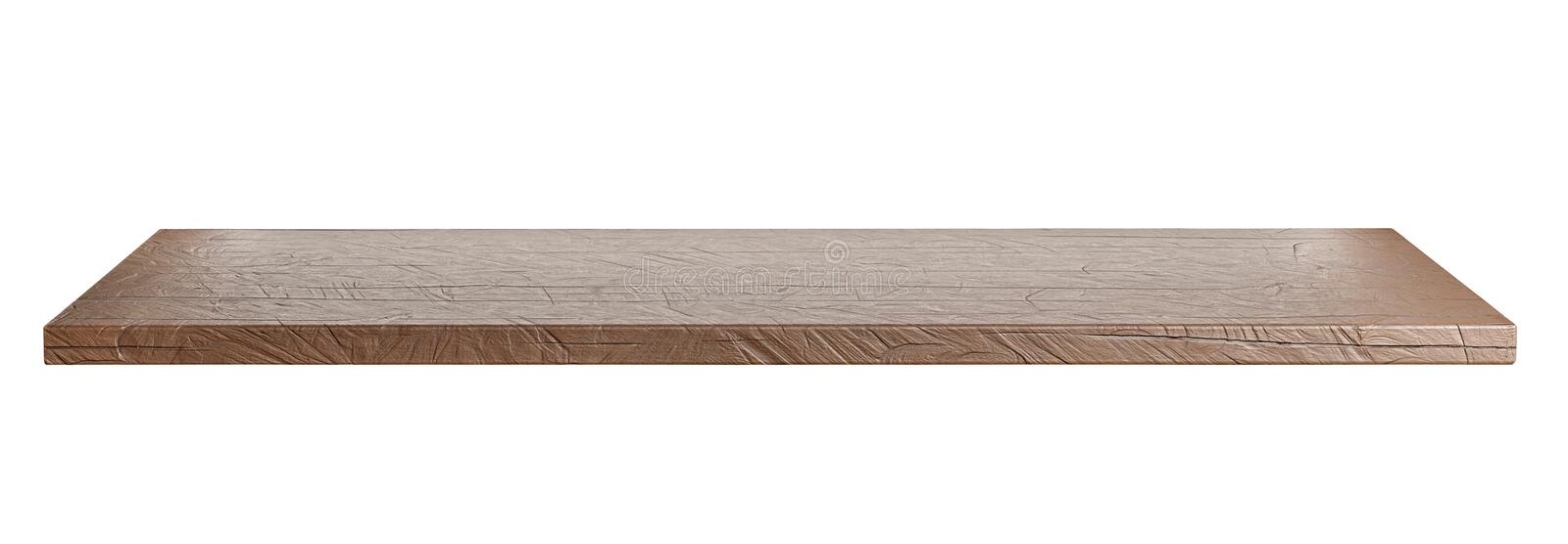 Rustic, empty tabletop or shelf isolated on white. Clipping path included. Suitable for product display. 3D render stock illustration
