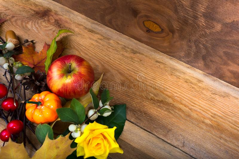 Download Rustic Fall Background With Apple Pumpkin Yellow Rose Copy Sp Stock Image