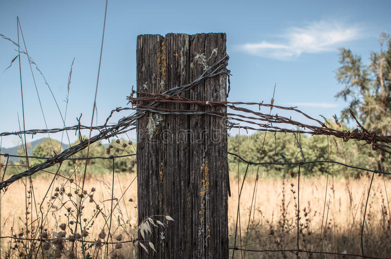Rustic Fence Post stock image