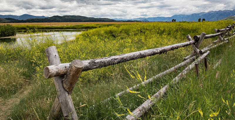 Rustic Fence in Wyoming stock photography