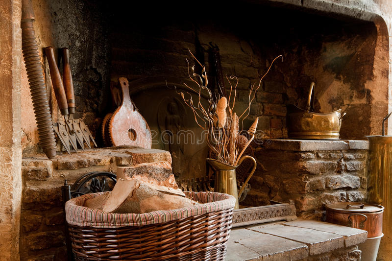 Download Rustic fireplace stock image. Image of tools, wood, interior - 11075725