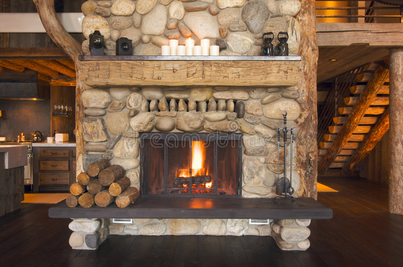 Rustic Fireplace stock image