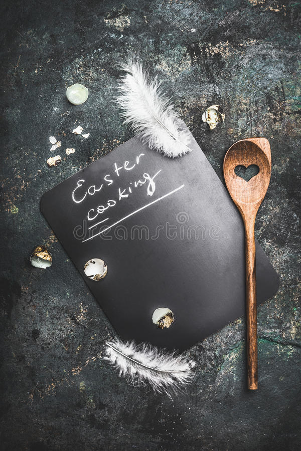 Download Rustic Food Background For Easter Cooking And Recipes With Wooden Spoon ,heart , Quail Eggs And Feathers, Top View Stock Image - Image: 83703321
