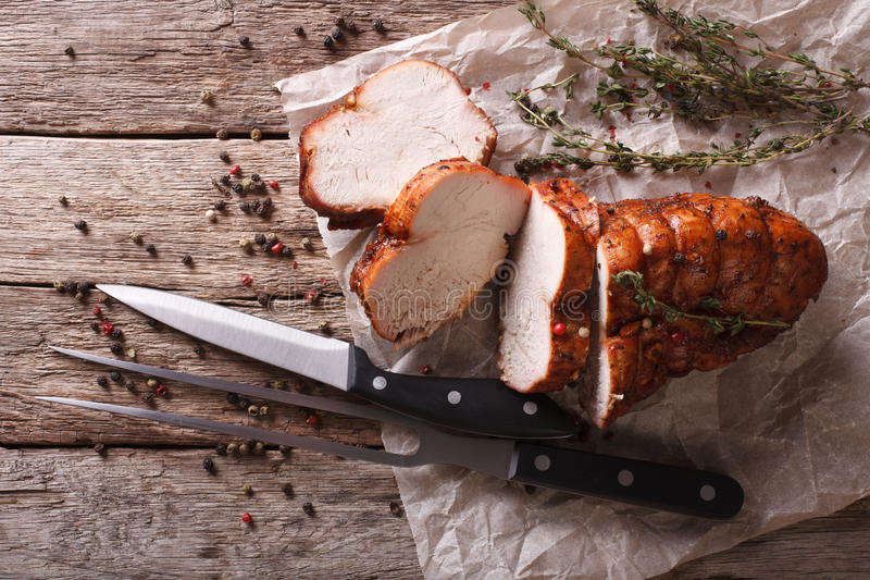 Rustic food: roasted turkey breast on the table. horizontal top royalty free stock images