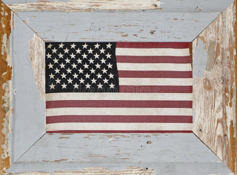 Download A Rustic Framed Vintage American Flag Stock Image