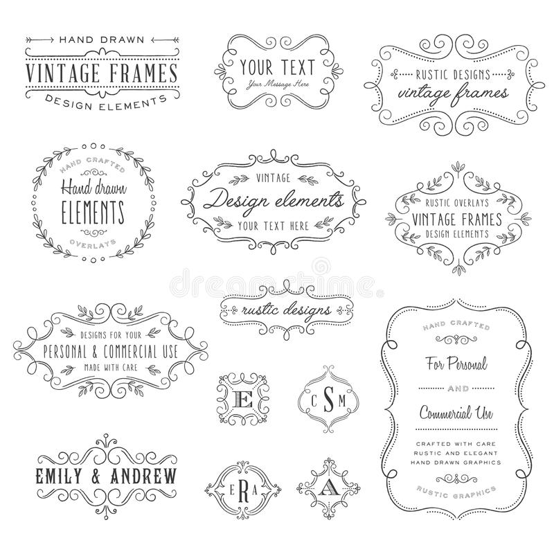 Rustic Frames Set. Rustic vintage frames and monograms set royalty free illustration