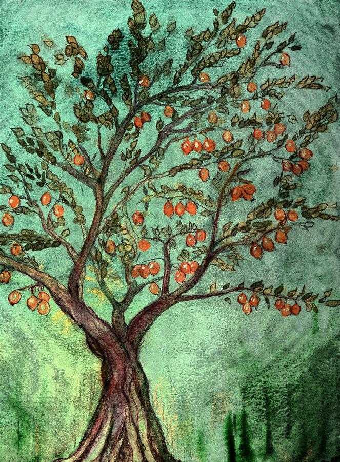 Rustic fruit tree with oranges and green background. The dabbing technique near the edges gives a soft focus effect due to the altered surface roughness of the stock illustration