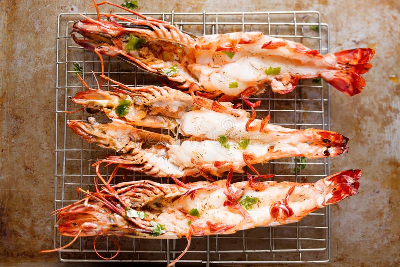 Rustic grilled jumbo prawn royalty free stock image