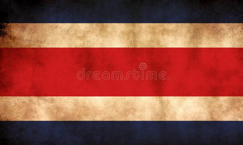 Rustic, Grunge Costa Rica Flag. A rustic grunge Costa Rica flag with a sepia tone stock image