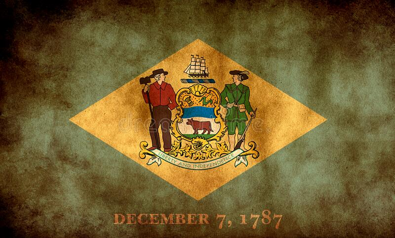 Rustic, Grunge Delaware - flaga stanowa obrazy stock