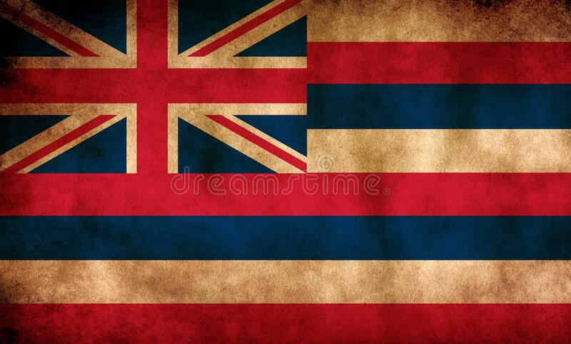 Rustic, Grunge Hawaii State Flag. A rustic grunge Hawaii state flag with a sepia tone stock image