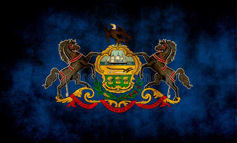 Rustic, Grunge Pennsylvania State Flag stock foto