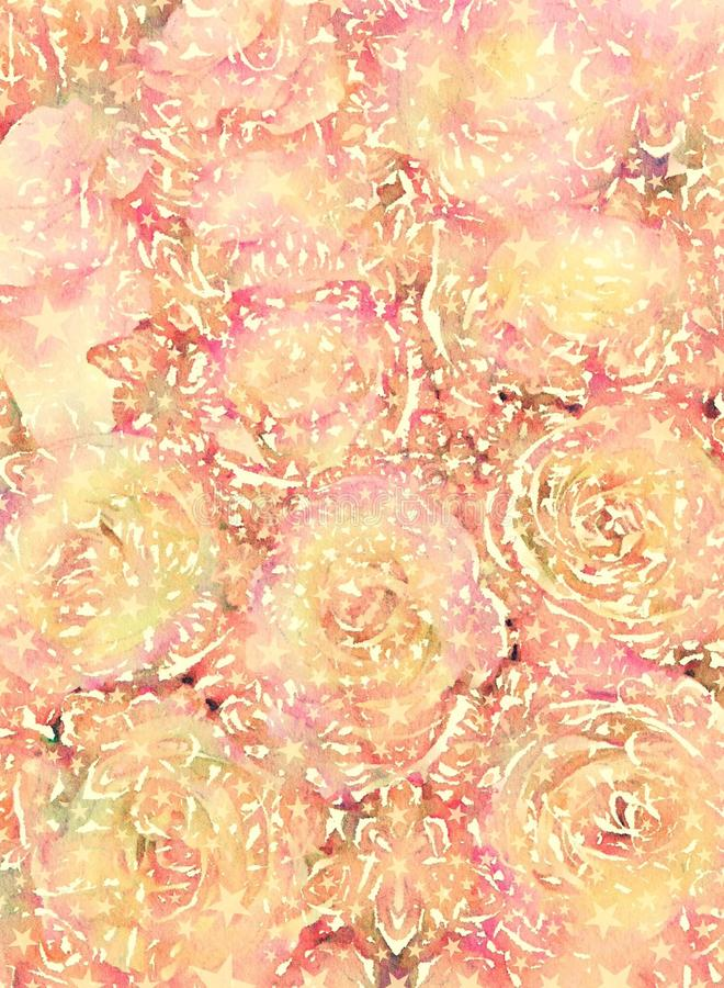 Rustic grungy antique floral rose bouquet background design. In soft yellow and orange colors royalty free stock photo