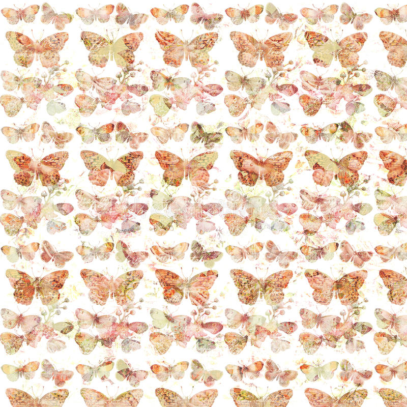 Rustic grungy botanical butterfly repeating background pattern. With flowers in orange and pink colors royalty free stock photo