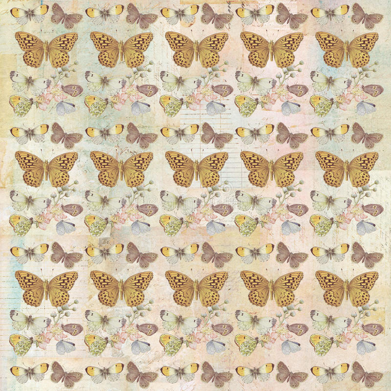Rustic grungy botanical butterfly repeating background pattern. With flowers in orange and pink colors against ledger paper background royalty free stock photo