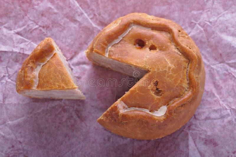 Rustic Pork Pie Cut Stock Photography