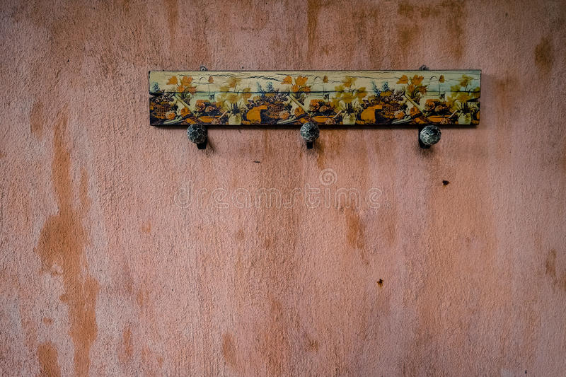 Rustic hanger on the wall. Rustic, wood hanger on the wall stock photos