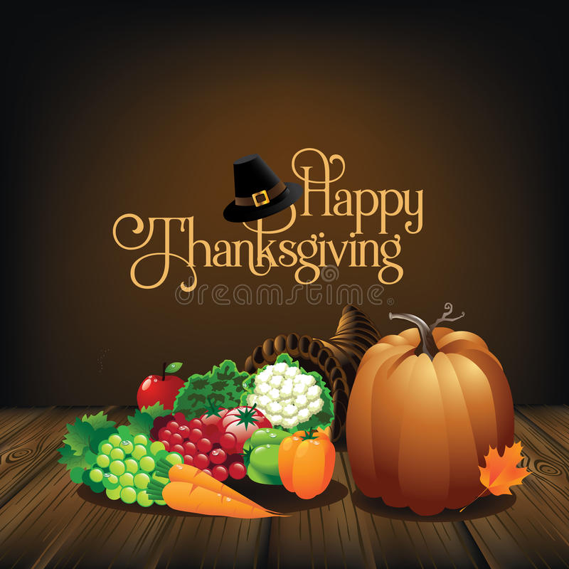 Download Rustic Happy Thanksgiving Greeting Card Stock Vector