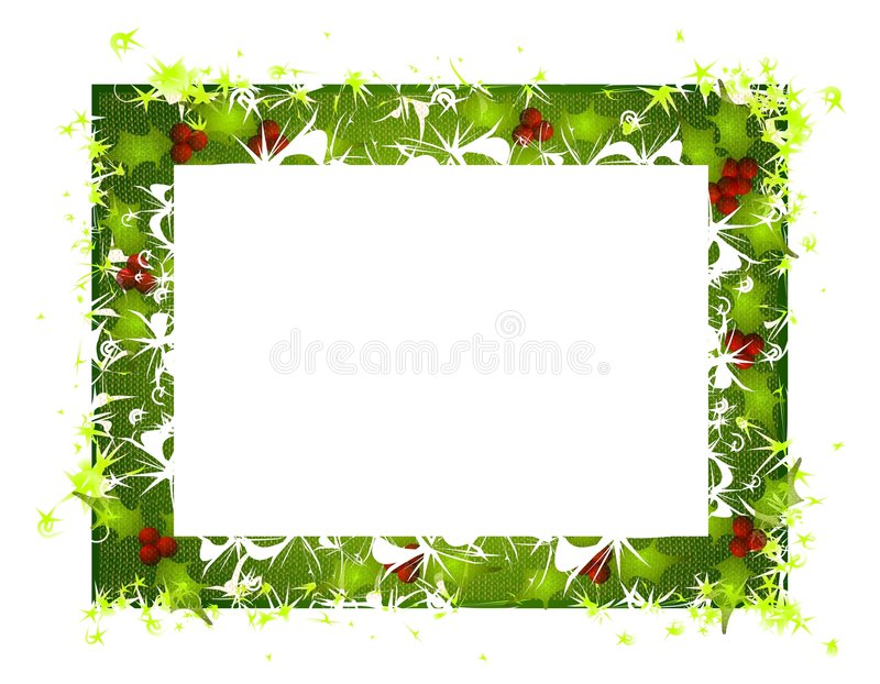 Rustic Holly Leaves Christmas Frame 2. A clip art illustration featuring a decorative rustic looking Christmas frame decorated with stars, holly leaves and white royalty free illustration