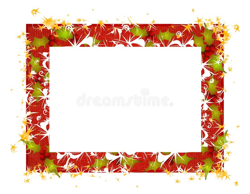 Rustic Holly Leaves Christmas Frame. A clip art illustration featuring a decorative rustic looking Christmas frame decorated with stars, holly leaves and white stock illustration
