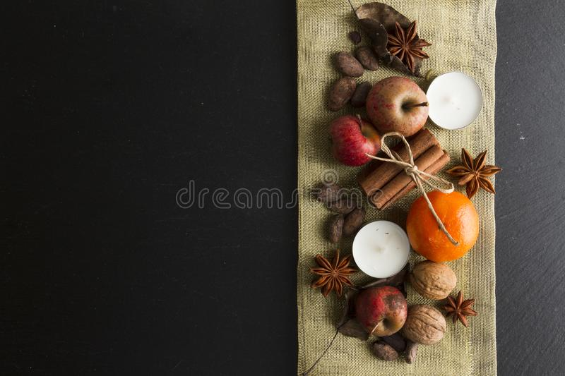 RUSTIC HOMEMADE ADVENT DECORATION. MERRY CHRISTMAS ORNAMENTS BACKGROUND royalty free stock image