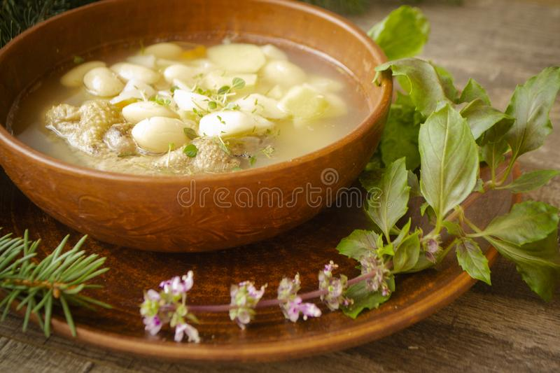 Rustic homemade chicken vegetable soup, traditional russain cuisine. Rustic homemade chicken vegetable soup, traditional russain winter cuisine stock images