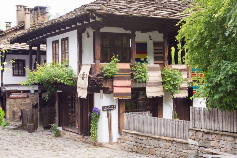 Rustic house in traditional Bulgarian village, Etara stock photography
