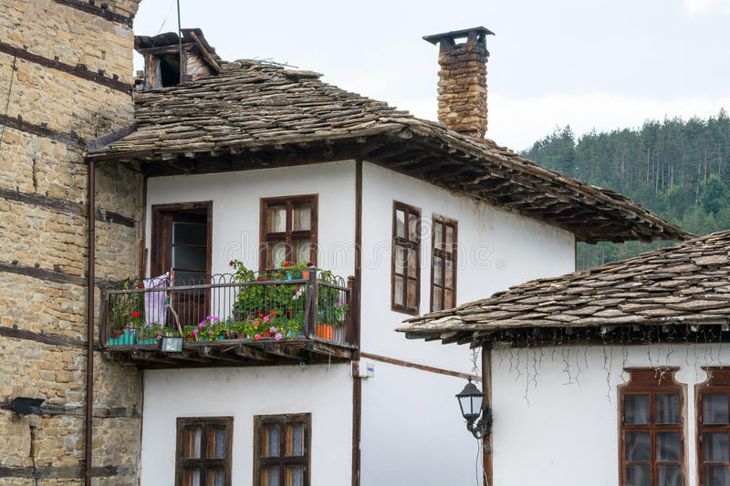 Rustic house in traditional Bulgarian village royalty free stock photography