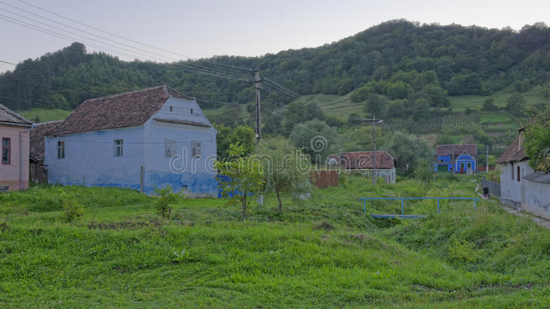 Rustic houses in Copsa Mare, Transylvania, Romania royalty free stock photos