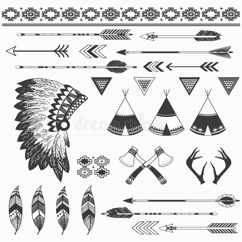 Rustic Indian Elements. A vector illustration of Rustic Indian Elements. Perfect for tribal, native america, culture, scrapbooks, Thanksgiving, greeting card and royalty free illustration