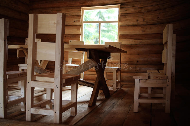 Rustic interior wooden house stock photography