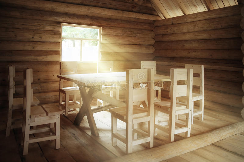 Rustic interior wooden house royalty free stock photography