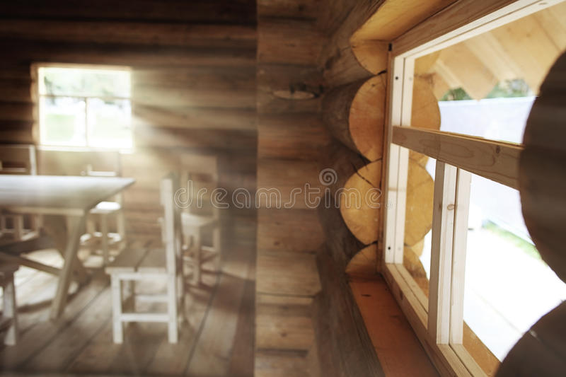 Rustic interior wooden house stock image