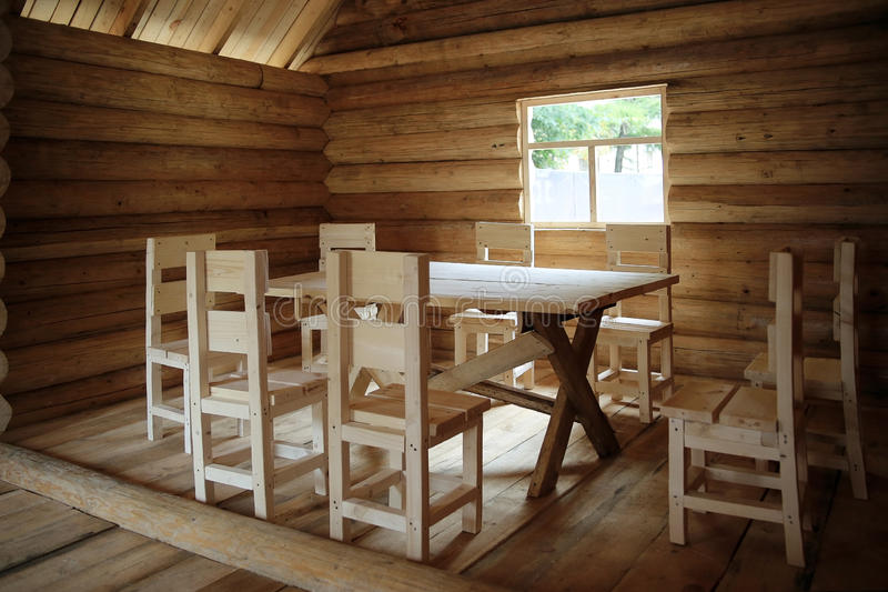 Rustic interior wooden house royalty free stock photo
