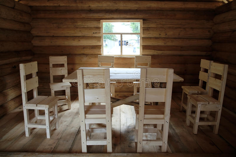 Rustic interior wooden house stock photo