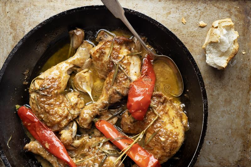 Rustic italian golden tuscan chicken. Close up of rustic italian golden tuscan chicken royalty free stock photos