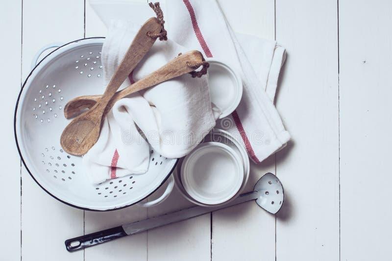 Rustic kitchen decor stock photos