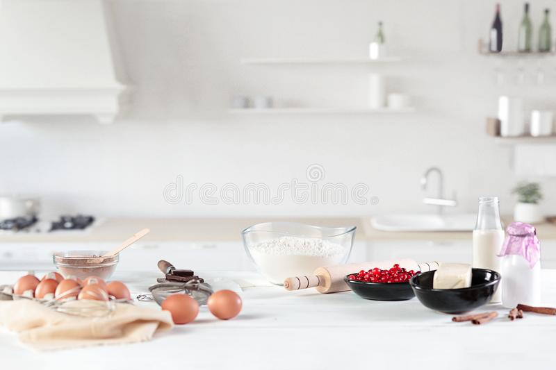 The rustic kitchen with eggs stock photography