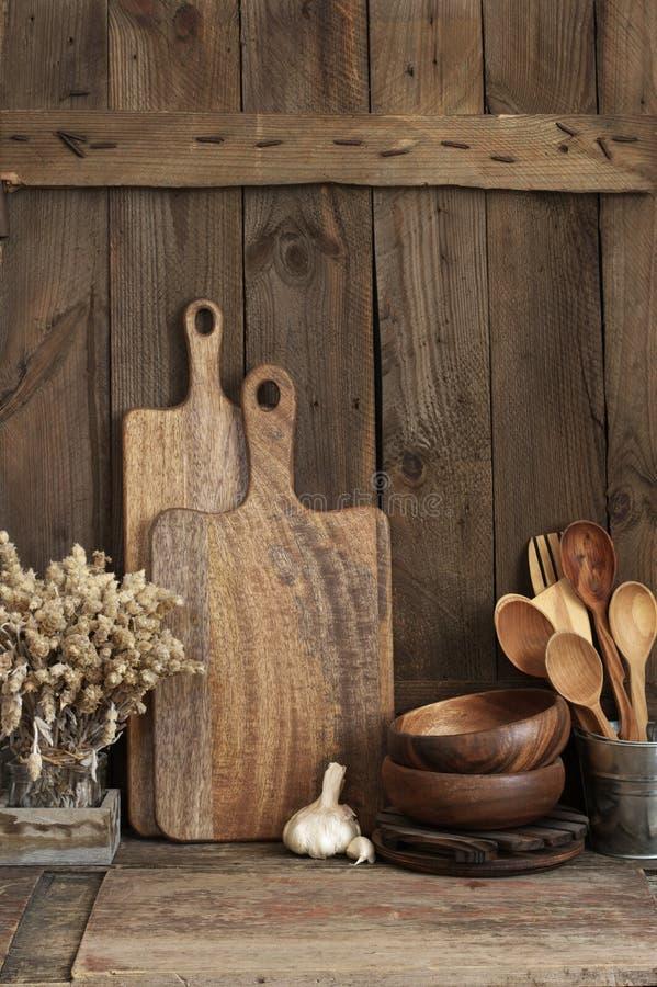 Rustic kitchen utensils stock images
