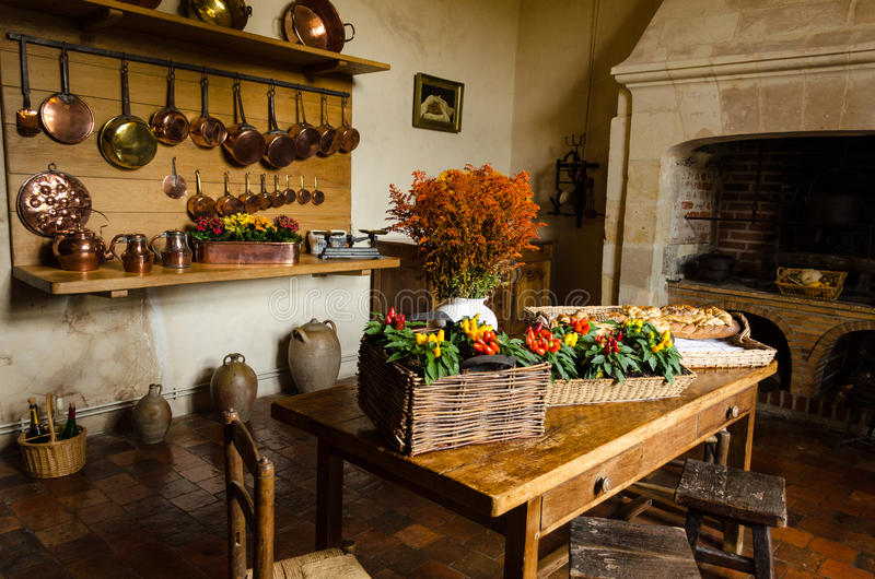Rustic kitchen of Villandry Castle – France stock images